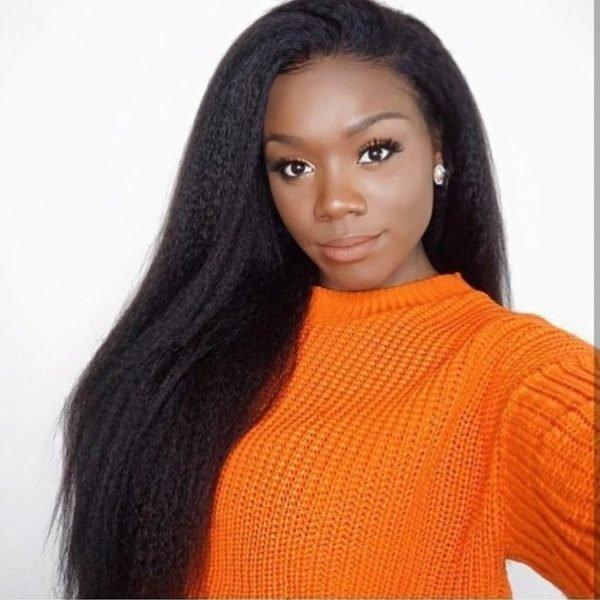 Dilo - Perruque Lace Frontal Afro Lisse Cheveux Naturels