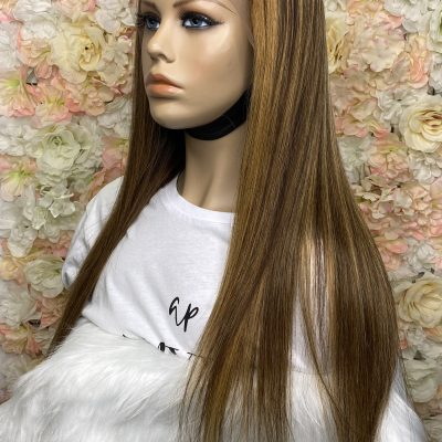 Kamélia – Perruque Lace frontal Lisse Blond Caramel Highlight